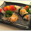 <p>bottom: California Roll, top : Assorted Fish</p>